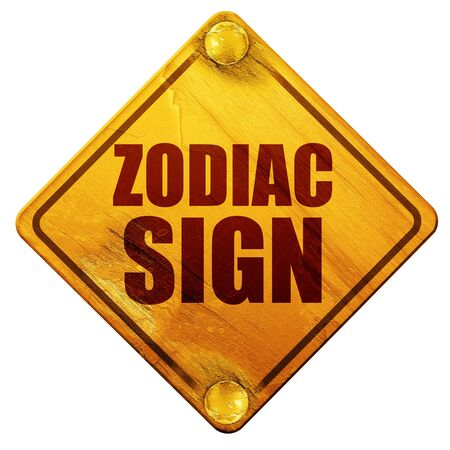 premonition: zodiac sign, 3D rendering, yellow road sign on a white background