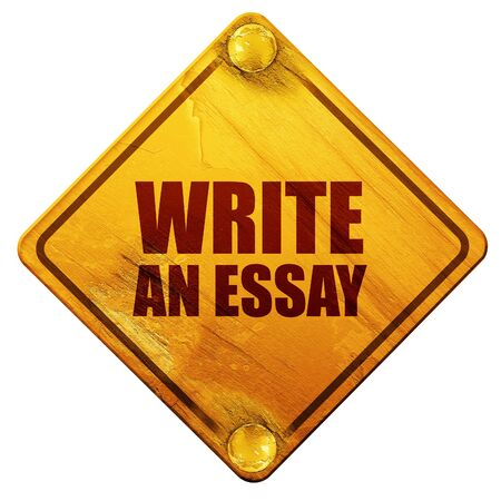 essay: write an essay, 3D rendering, yellow road sign on a white background Stock Photo
