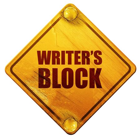writer's block: writers block, 3D rendering, yellow road sign on a white background Stock Photo