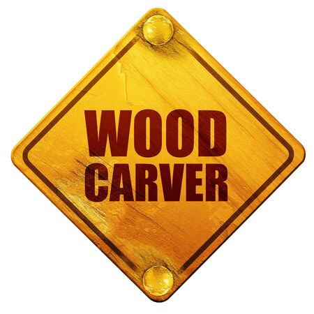 wood carving 3d: wood carver, 3D rendering, yellow road sign on a white background