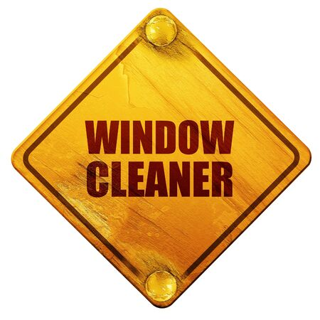 window cleaner: window cleaner, 3D rendering, yellow road sign on a white background