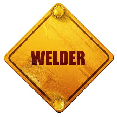 welded: welder, 3D rendering, yellow road sign on a white background Stock Photo