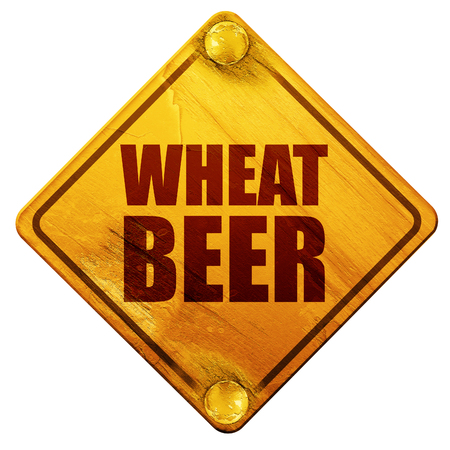 cereal bar: wheat beer, 3D rendering, yellow road sign on a white background