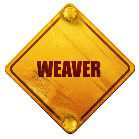 handloom: weaver profession, 3D rendering, yellow road sign on a white background