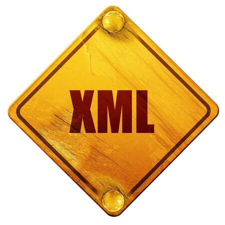xml: xml, 3D rendering, yellow road sign on a white background