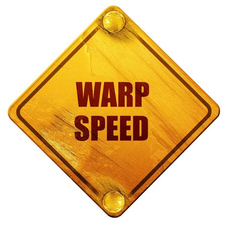 warp speed: warp speed, 3D rendering, yellow road sign on a white background Stock Photo