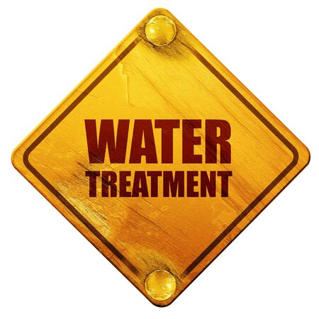 sewage treatment plant: water treatment, 3D rendering, yellow road sign on a white background Stock Photo
