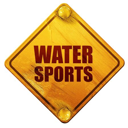 water sports, 3D rendering, yellow road sign on a white background Stock Photo