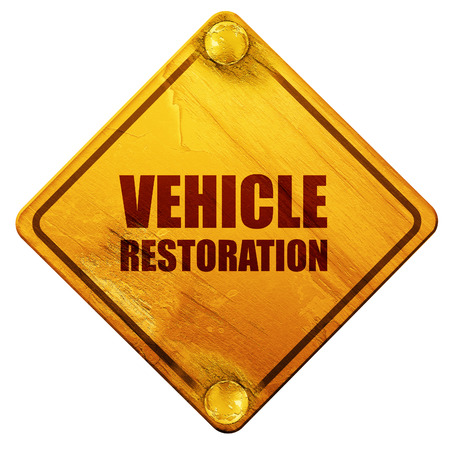 restoration: vehicle restoration, 3D rendering, yellow road sign on a white background