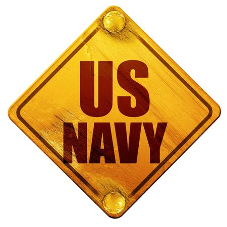 corps: us navy, 3D rendering, yellow road sign on a white background Stock Photo