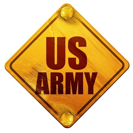 infantryman: us army, 3D rendering, yellow road sign on a white background Stock Photo