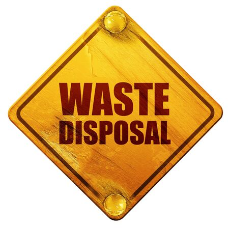 waste 3d: waste disposal, 3D rendering, yellow road sign on a white background Stock Photo
