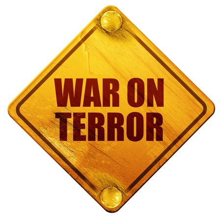 iraq war: war on terror, 3D rendering, yellow road sign on a white background Stock Photo