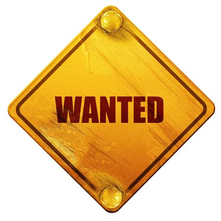 gunshot: wanted, 3D rendering, yellow road sign on a white background Stock Photo