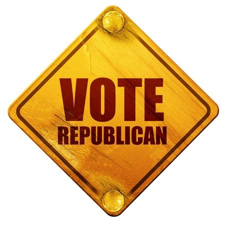 senate: vote republican, 3D rendering, yellow road sign on a white background