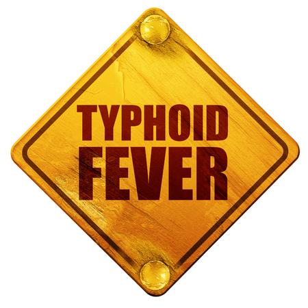 yellow fever: typhoid fever, 3D rendering, yellow road sign on a white background