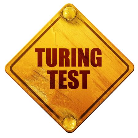 contemplate: turing test, 3D rendering, yellow road sign on a white background