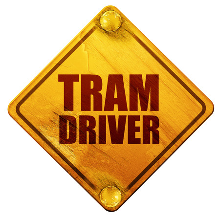 computerized: tram driver, 3D rendering, yellow road sign on a white background