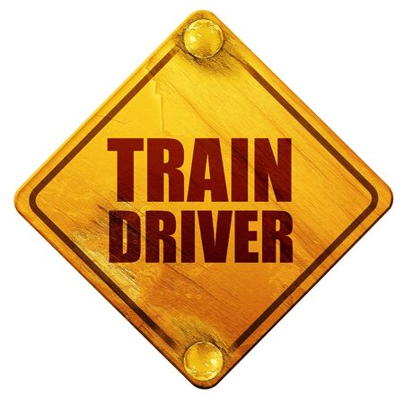 computerized: train driver, 3D rendering, yellow road sign on a white background Stock Photo