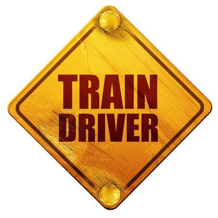 treinbestuurder, 3D-rendering, geel verkeersbord op een witte achtergrond