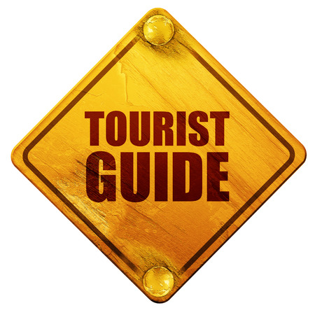 couple hiking: tourist guide, 3D rendering, yellow road sign on a white background