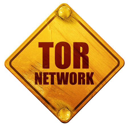 lost in space: tor network, 3D rendering, yellow road sign on a white background
