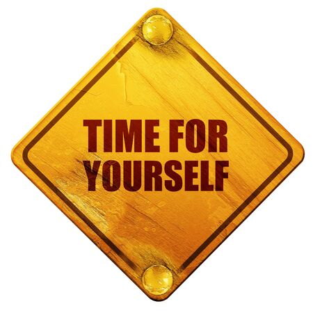 misleading: time for yourself, 3D rendering, yellow road sign on a white background Stock Photo