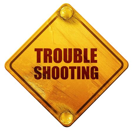 troubleshooting, 3D rendering, yellow road sign on a white background