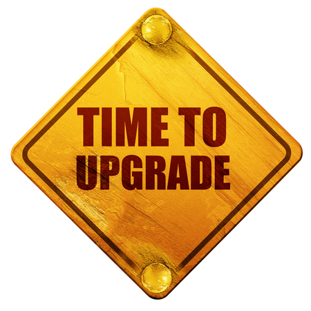 updating: time to upgrade, 3D rendering, yellow road sign on a white background Stock Photo