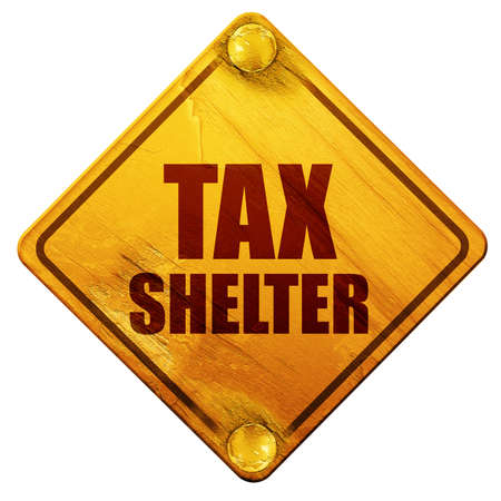 laundering: tax shelter, 3D rendering, yellow road sign on a white background