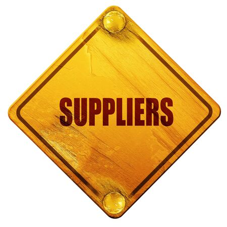 suppliers: suppliers, 3D rendering, yellow road sign on a white background