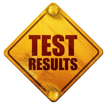 test results: test results, 3D rendering, yellow road sign on a white background Stock Photo