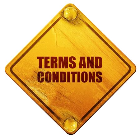 road conditions: term and conditions, 3D rendering, yellow road sign on a white background