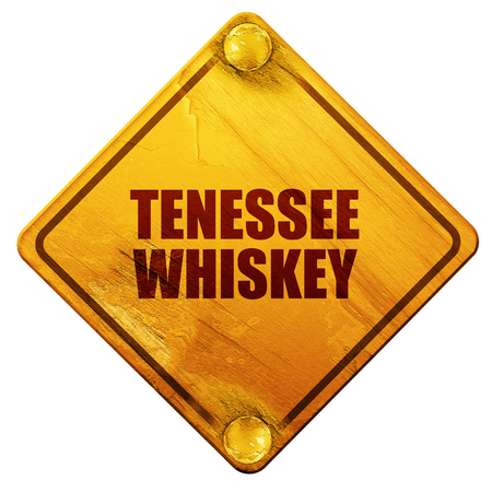 daniels: tenessee whiskey, 3D rendering, yellow road sign on a white background
