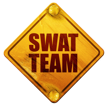 swat: swat team, 3D rendering, yellow road sign on a white background