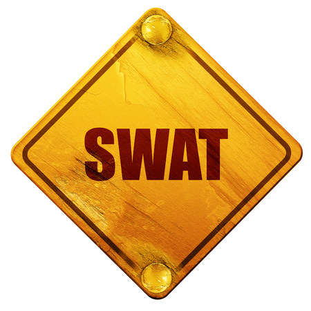swat: swat, 3D rendering, yellow road sign on a white background Stock Photo