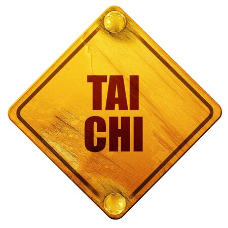 chi: tai chi, 3D rendering, yellow road sign on a white background