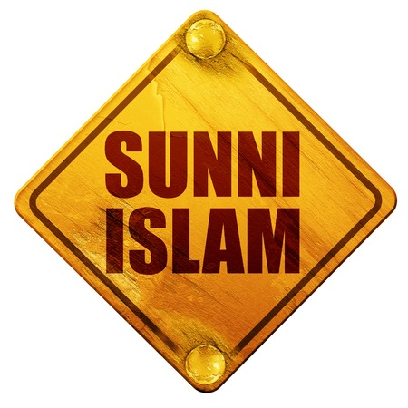 soennitische islam, 3D-rendering, gele verkeersbord op een witte achtergrond