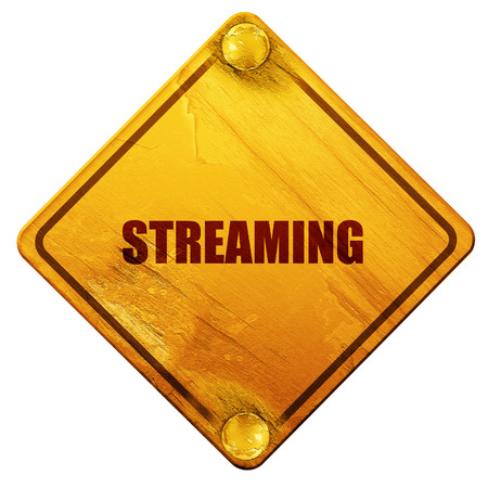 streaming: streaming, 3D rendering, yellow road sign on a white background Stock Photo