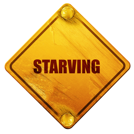 starvation: starving, 3D rendering, yellow road sign on a white background