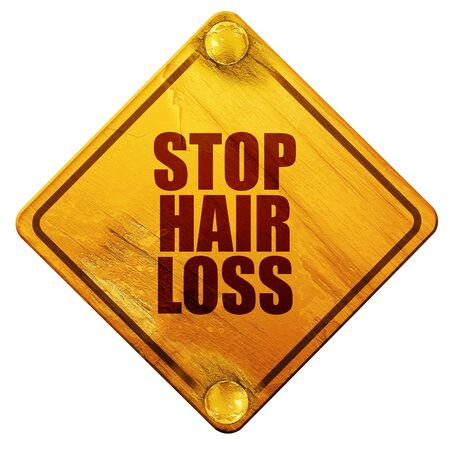 yellow hair: stop hair loss, 3D rendering, yellow road sign on a white background Stock Photo