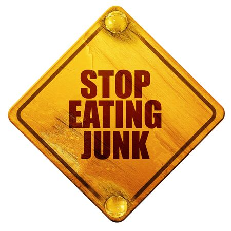 fatness: stop eating junk, 3D rendering, yellow road sign on a white background Stock Photo