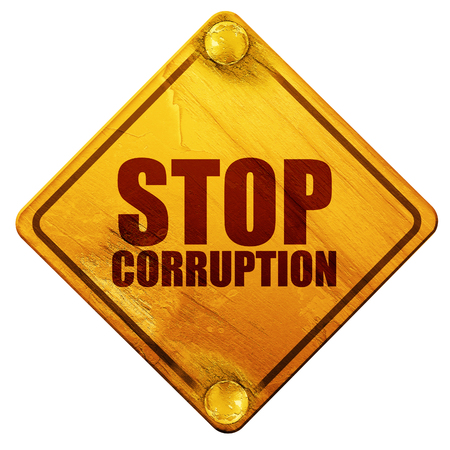 bribery: stop corruption, 3D rendering, yellow road sign on a white background Stock Photo
