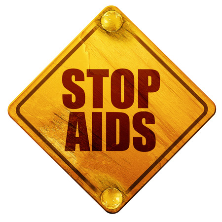 immunodeficiency: stop aids, 3D rendering, yellow road sign on a white background