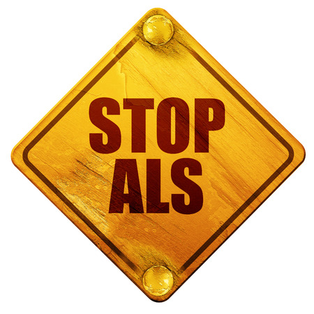 slow down: stop als, 3D rendering, yellow road sign on a white background