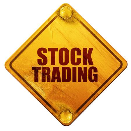 de handel in aandelen, 3D-rendering, gele verkeersbord op een witte achtergrond