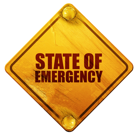 viewpoint: state of emergency, 3D rendering, yellow road sign on a white background
