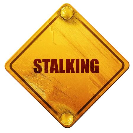 corn stalk: stalking, 3D rendering, yellow road sign on a white background Stock Photo