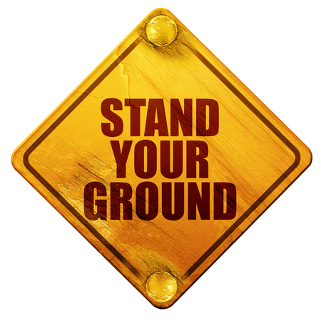 concealed: stand your ground, 3D rendering, yellow road sign on a white background