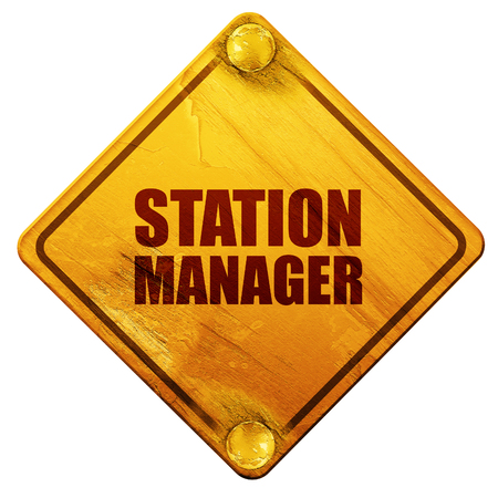 3d manager: station manager, 3D rendering, yellow road sign on a white background
